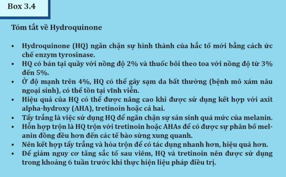 Box 3.4:Tóm tắt về Hydroquinone