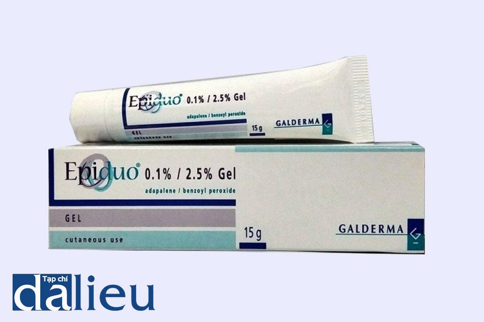 Thuốc Epiduo chứa hai hoạt chất chính là Adapalene và Benzoyl peroxide, hoạt chất đặc hiệu điều trị mụn