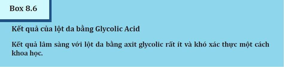 Box 8.6: Kết quả lột da bằng Glycolic acid
