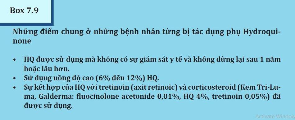 Box 7.9: Những điểm chung ở những bênh nhân đã bị tác dụng phụ Hydroquinone
