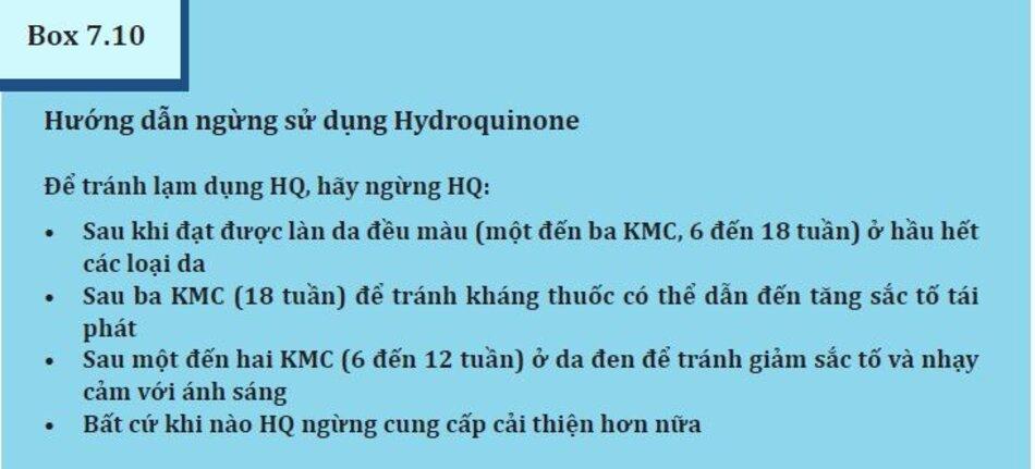 Box 7.10: Hướng dẫn ngưng sử dụng Hydroquinone