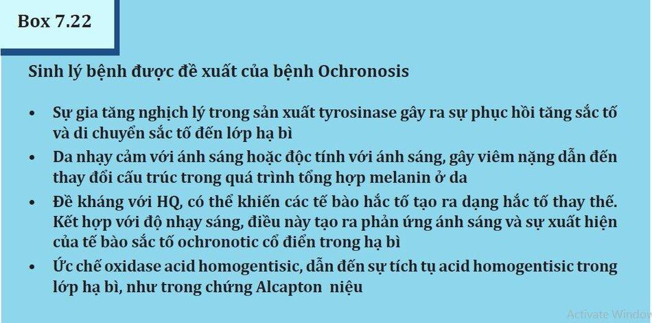 Box 7.22: Sinh lý bệnh được đề xuất của bệnh Ochronosis