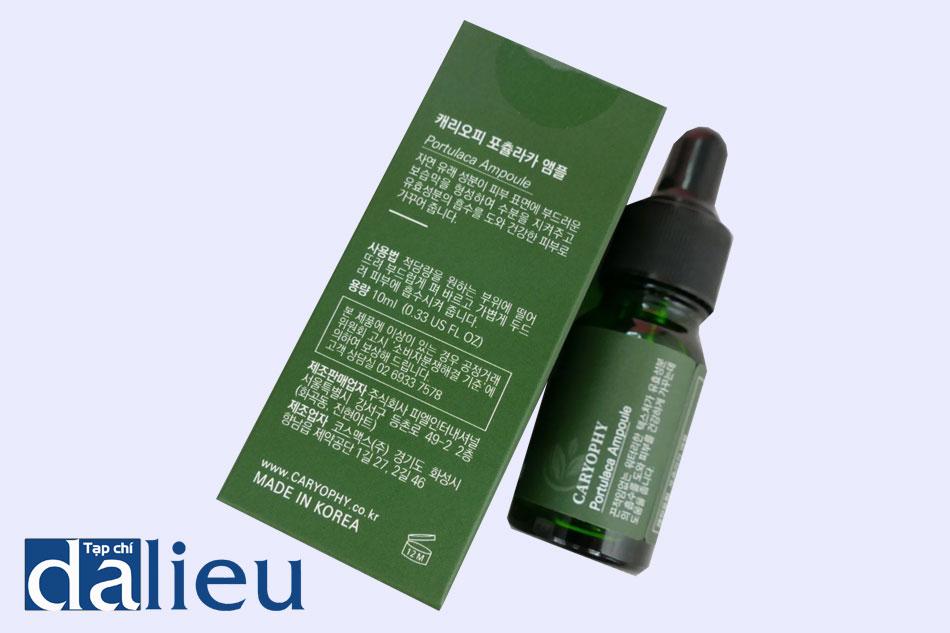 Serum trị mụn Caryophy Portulaca Ampoule gồm 3 thành phần chính đều là dược liệu tự nhiên và hoàn toàn lành tính