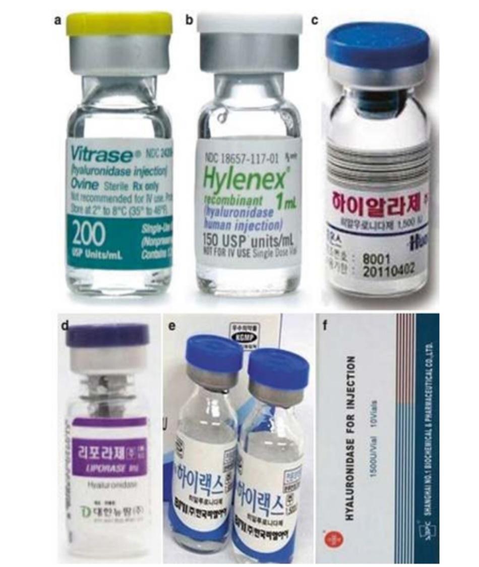 Hình 2.14 Các chế phẩm tiêm. (a) Vitrase (United States) 200 USP. (b) Hylenex (United States) 150 USP. (c) Hyalase (South Hàn Quốc) 1500 IU, bột. (d) Liporase (South Hàn Quốc) 1500 IU, bột. (e) Hylex (South Hàn Quốc) 1500 IU, lỏng. (f) Shanghai product (Trung Quốc) 1500 IU, bột