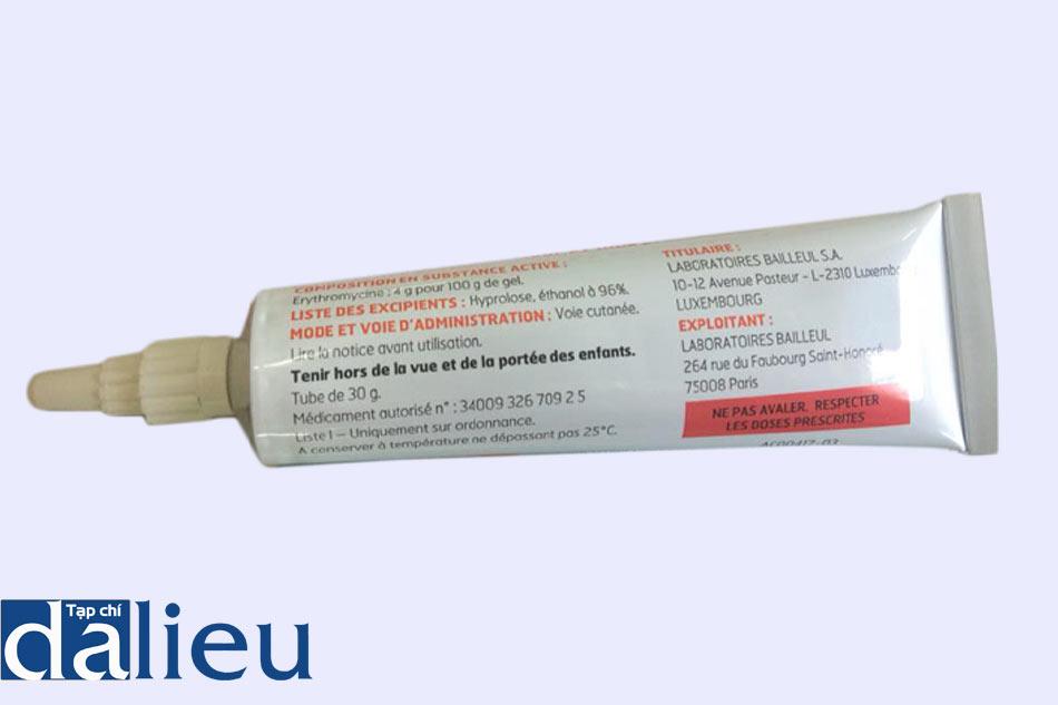Hình ảnh mặt sau tuýp thuốc Erythrogel