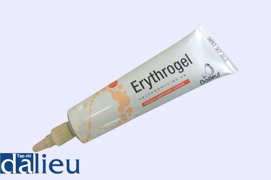 Mặt trước tuýp thuốc trị mụn Erythrogel