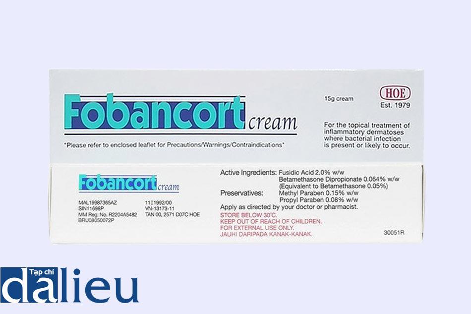 Mặt trước và mặt sau hộp thuốc Fobancort Cream