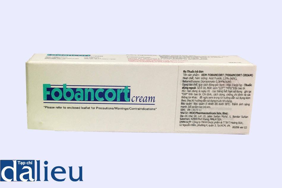 Hình ảnh mặt bên hộp thuốc Fobancort Cream