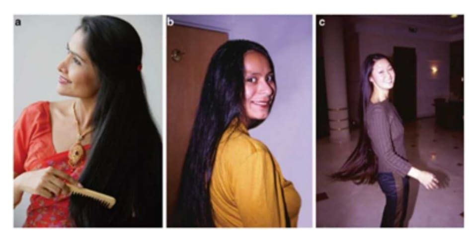 Fig. 7.13 (a-c) Indian and East Asian women also tend to prefer high conditioning benefits to drive a high shine and smooth look