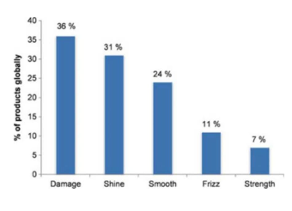 Fig. 7.3 Percentage lof products which refer to aspects of hair health in their product description