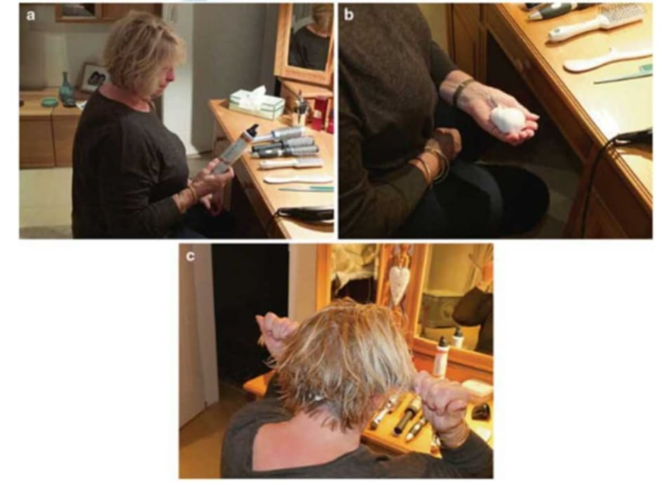 Fig. 7.39 (a) Select desired styling product for end benefit; (b) use proper amount; and (c) work into hair with hands