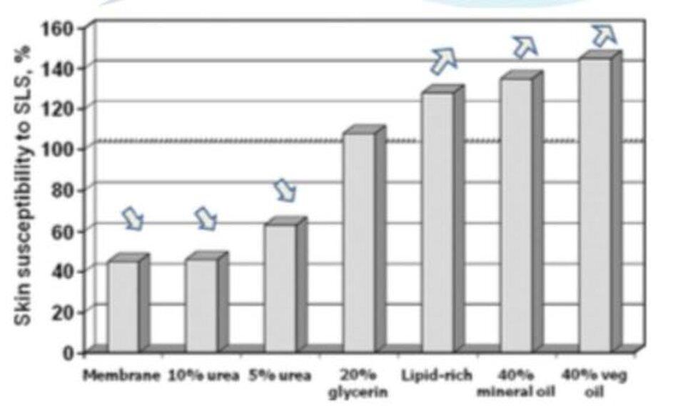 Hình 1: Độ nhạy cảm của da với sodium lauryl sunphat (SLS)