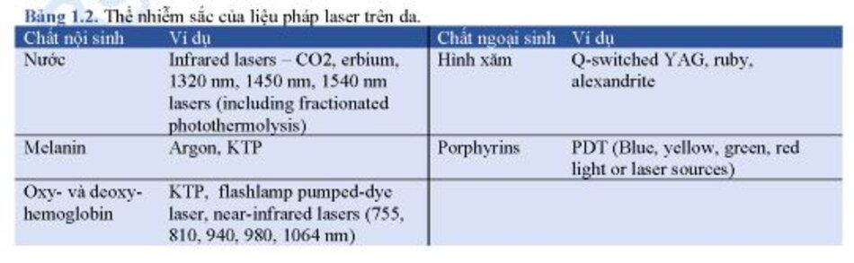 Bảng 1.2. Thể nhiễm sắc của liệu pháp laser trên da.