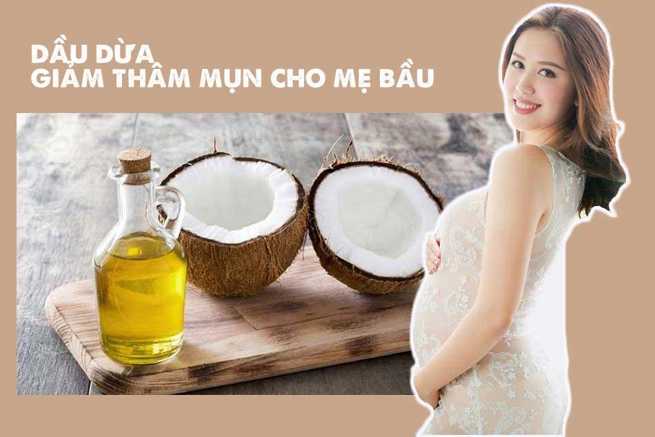 Chấm mụn bằng dầu dừa giúp giảm thâm mụn cho thai phụ